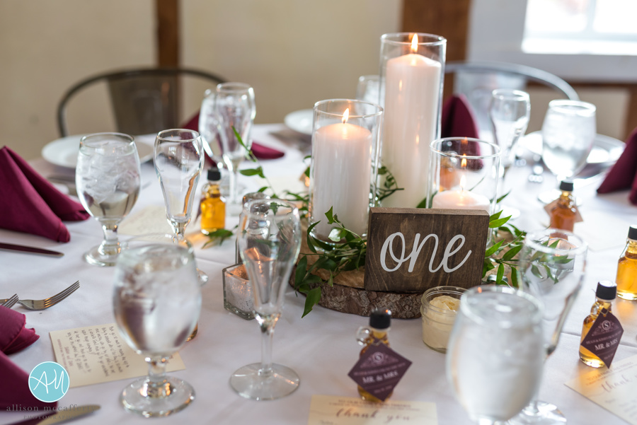 Trio vase and candle centerpiece